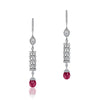 18K White gold drop earrings with diamonds and tourmaline