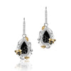 18K Two Tone Honeycomb Earrings With Diamonds Black And White Agate