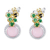 18K TWO TONE DIAMOND EARRINGS WITH QUARTZ AND AGATE