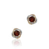18K Tricolor earrings with diamonds,tsavorite and garnet