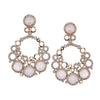 14K Rose Gold Bubble Shaped Rose Quartz And Diamond Earrings