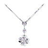 18K White Gold Flower Necklace With Diamonds