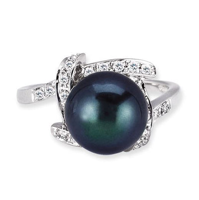 18K WHITE GOLD RING WITH DIAMONDS AND CENTER BLACK PEARL