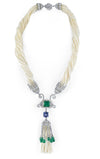 18K Sead Pearl Necklace With Emeralds Diamonds And Tanzanite