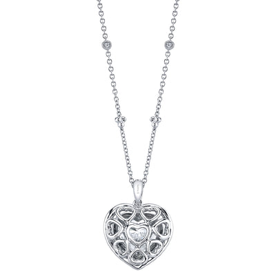 18K White Gold Diamond Heart Lock Necklace
