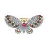 18K YELLOW AND WHITE GOLD BUTTERFLY BROOCH WITH DIAMONDS RUBIES SAPPHIRES AND EMERALDS