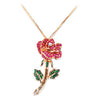 18K ROSE GOLD ROSE PENDANT NECKLACE WITH DIAMOND SAPPHIRES AND TSAVORITE