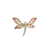 18K Tri Color Gold Dragonfly Brooch With Diamonds And Sapphires