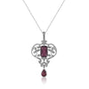 18K White gold necklace with diamonds and pink tourmaline