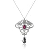 18K White gold necklace with diamonds tourmaline and pearl