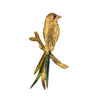 18K Yellow Gold Bird Brooch/Pin With Rubies and Enamel