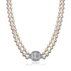 18K Two tone gold pearl necklace with diamonds