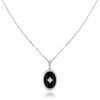 18K White gold oval onyx pendant necklace with diamonds