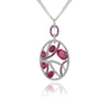 18K White gold diamond necklace with sapphire and tourmaline