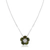 18K White gold flower pendant necklace with green tourmaline and diamonds