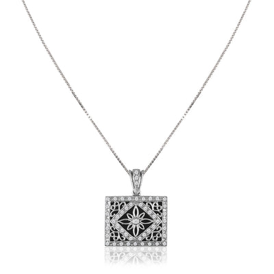 18K White gold locket necklace with black onyx and diamonds
