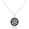 18K white gold onyx medallion with diamonds