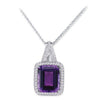 18K White Gold Pendant Necklace With Diamonds And Center Amethyst