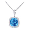 18K White Gold Pendant Necklace With Diamonds And Blue Topaz