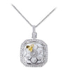 18K Two Tone Pendant Necklace With Diamonds And White Agate