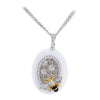 18K Two Tone Honeycomb Diamond Necklace With Black And White Agate