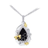 18K Two Tone Diamond And Onyx Necklace With Honeycomb Bee