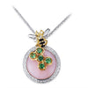 18K Two Tone Bee Diamond Necklace With Tsavorite Rose Quartz And Black Agate