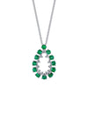 18K Diamond And Emerald Necklace