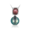 18K White Gold Necklace With Diamonds Tourmaline And Natural Pearl