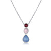 18K Multi Gem Drop Necklace With Diamonds