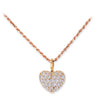 18K Rose Gold Heart Pendant Necklace With Diamonds