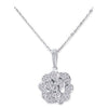 18K White Gold Flower Pendant Necklace With Diamonds