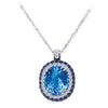 18K White Gold Pendant Necklace With Diamonds Sapphires And Blue Topaz
