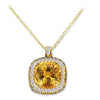 18K YELLOW GOLD PENDANT NECKLACE WITH DIAMONDS SAPPHIRES AND CITRINE