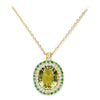 18K YELLOW GOLD PENDANT NECKLACE WITH DIAMONDS TSAVORITE AND LEMON QUARTZ