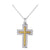 18K WHITE GOLD CROSS PENDANT NECKLACE WITH DIAMONDS AND SAPPHIRES