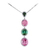 18K White Gold Pendant Necklace With Diamonds And Tourmalines