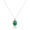 18K White gold necklace with diamonds tsavorite and center phrenite