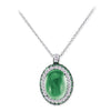 18K White Gold Pendant Necklace With Diamonds And Tsavorite