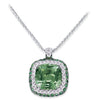18K White Gold Pendant Necklace With Diamonds Tsavorite And Amethyst