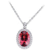18K White Gold Pendant Necklace With Diamonds And Tourmaline