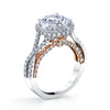 18K Rose And White Gold Pave Twist Engagement Ring