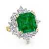 18K YELLOW GOLD FASHION DIAMOND AND EMERALD RING