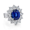 18K White Gold Fashion Diamond And Sapphire Ring