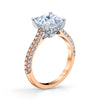 18K Rose Gold Pave Princess Engagement Ring