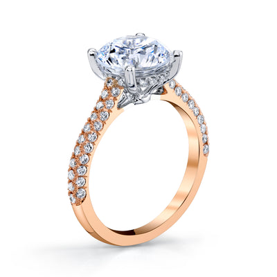 18K Rose Gold Pave Round Engagement Ring