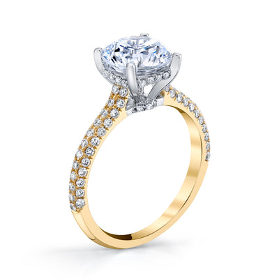 18K YELLOW GOLD PAVE ROUND ENGAGEMENT RING