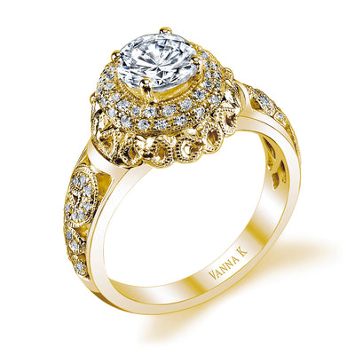 18K YELLOW GOLD DOUBLE HALO DIAMOND ENGAGEMENT RING