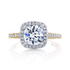 18K White And Yellow Gold Halo Diamond Engagement Ring