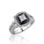 18K White gold ring with diamonds and black onyx